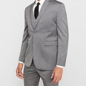 EXPRESS Slim Gray Wool Blend Oxford Suit Jacket